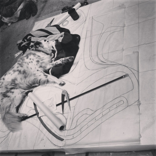 Mulligan helping to show the scale (in the early stages) of Cori's red cedar panel